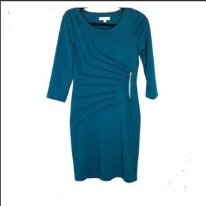 Spense teal green bodycon dress w/ruching sz. 4